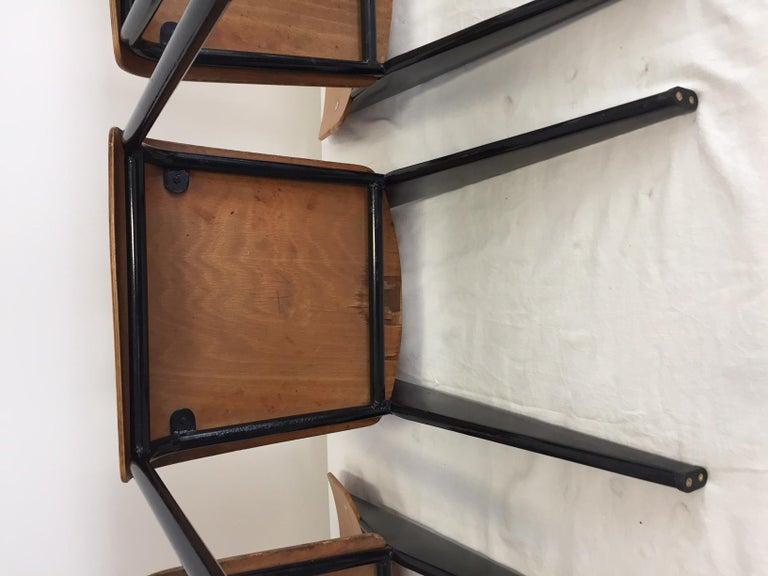Jean Prouvé Semi-Metal No. 305 Chairs Color Black Set of 4 For Sale 6