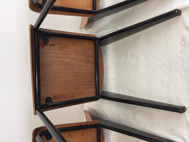 Jean Prouvé Semi-Metal No. 305 Chairs Color Black Set of 4 For Sale 7