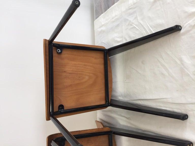Jean Prouvé Semi-Metal No. 305 Chairs Color Black Set of 4 For Sale 8
