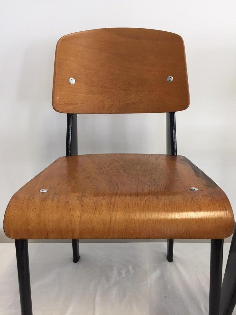 Jean Prouvé Semi-Metal No. 305 Chairs Color Black Set of 4 For Sale 9