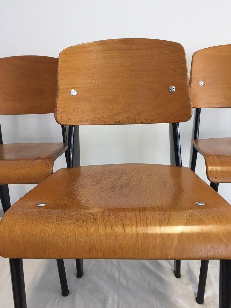 Jean Prouvé Semi-Metal No. 305 Chairs Color Black Set of 4 For Sale 10