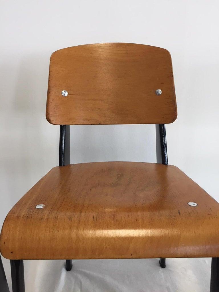 Jean Prouvé Semi-Metal No. 305 Chairs Color Black Set of 4 For Sale 11