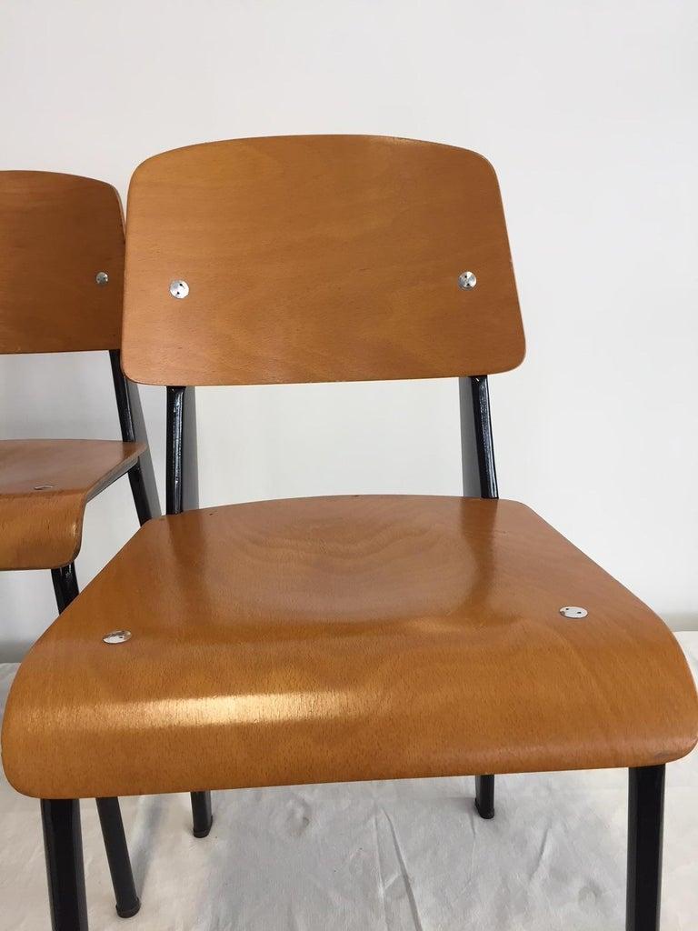 Jean Prouvé Semi-Metal No. 305 Chairs Color Black Set of 4 For Sale 12