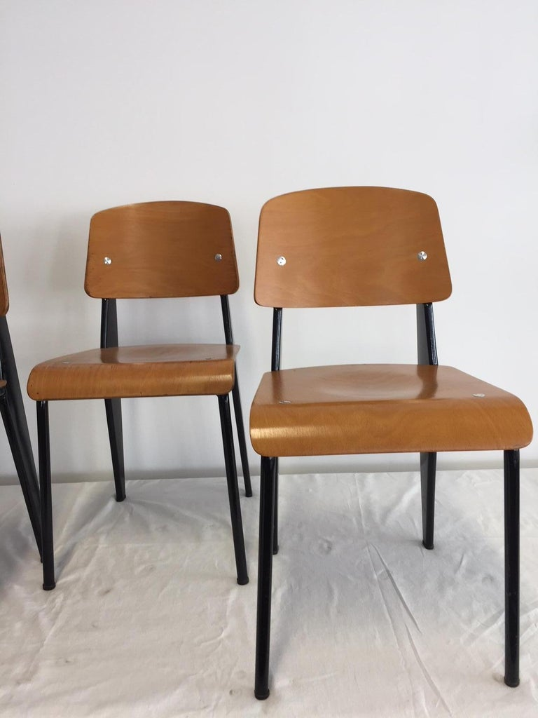 Mid-Century Modern Jean Prouvé Semi-Metal No. 305 Chairs Color Black Set of 4 For Sale
