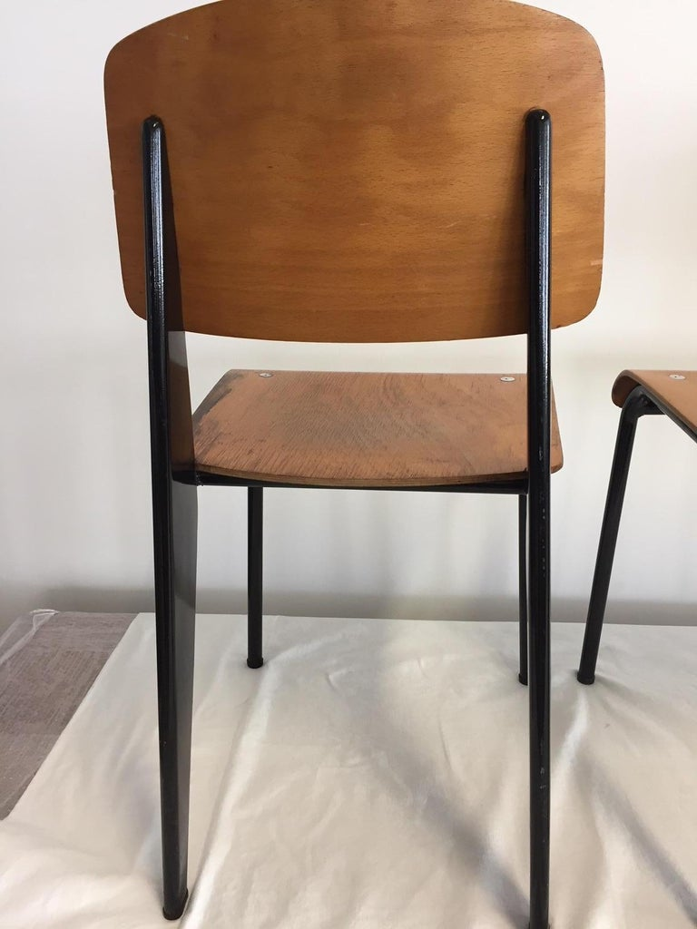French Jean Prouvé Semi-Metal No. 305 Chairs Color Black Set of 4 For Sale