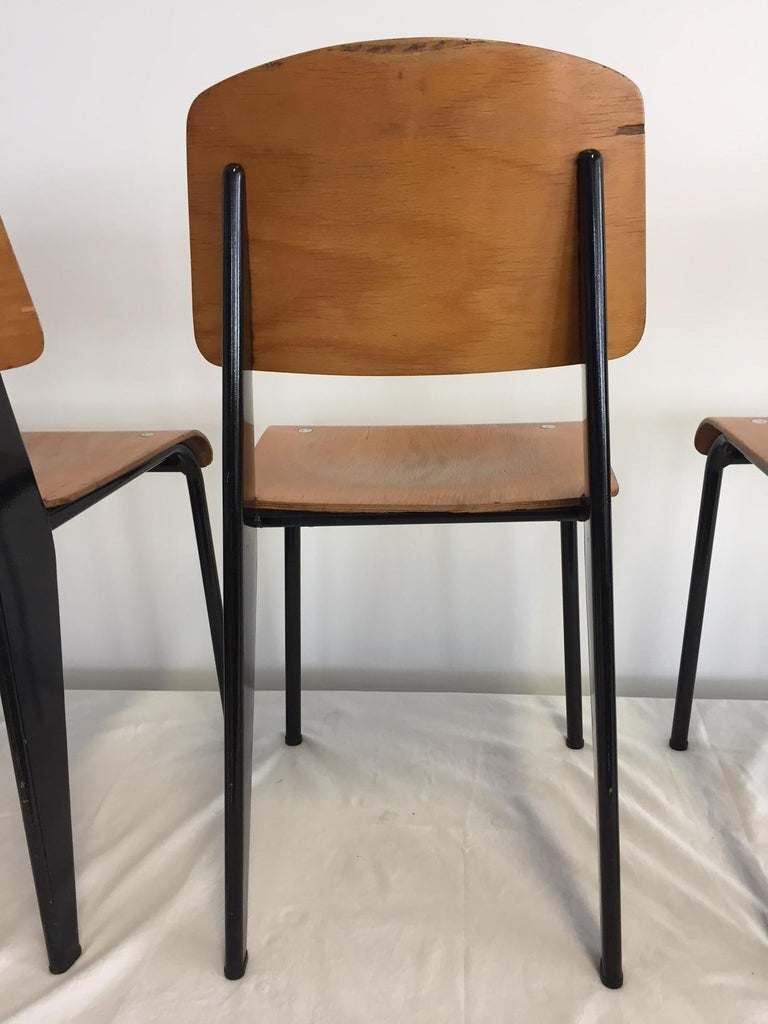 Jean Prouvé Semi-Metal No. 305 Chairs Color Black Set of 4 In Good Condition For Sale In Hamburg, DE