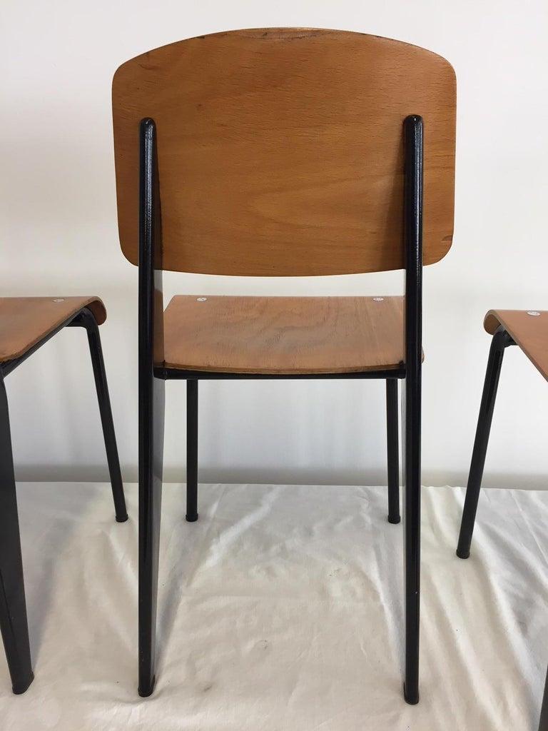 20th Century Jean Prouvé Semi-Metal No. 305 Chairs Color Black Set of 4 For Sale