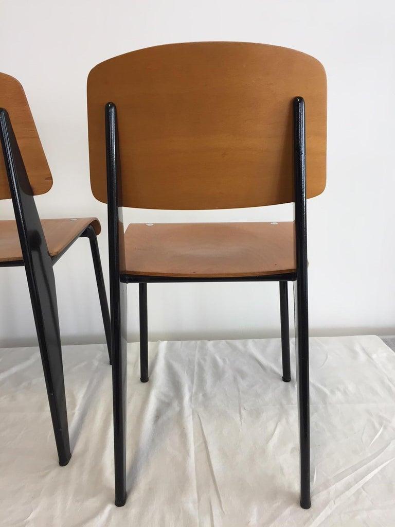 Steel Jean Prouvé Semi-Metal No. 305 Chairs Color Black Set of 4 For Sale
