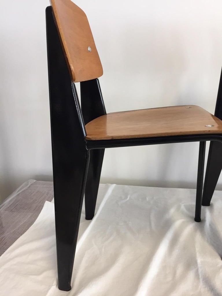 Jean Prouvé Semi-Metal No. 305 Chairs Color Black Set of 4 For Sale 1