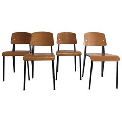 Jean Prouvé Semi-Metal No. 305 Chairs Color Black Set of 4