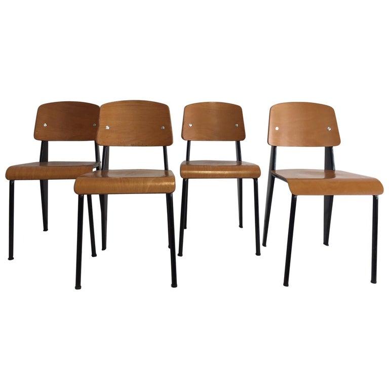 Jean Prouvé Semi-Metal No. 305 Chairs Color Black Set of 4 For Sale