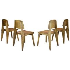 """Jean Prouvé, Set of Four """"Tout Bois"""" Chairs, 1941"""
