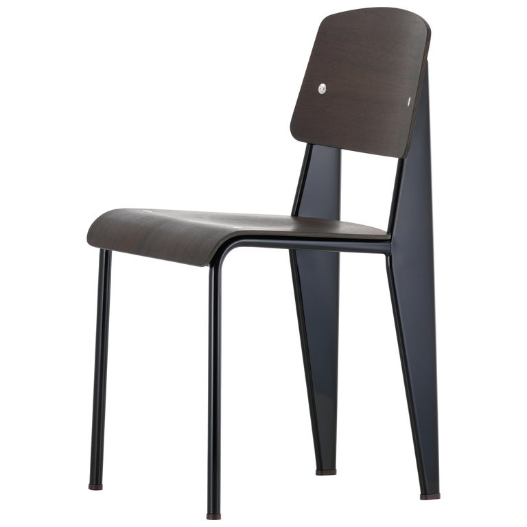 Jean Prouvé Standard Chair in Black Tinted Walnut and Black Metal for Vitra For Sale