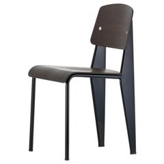 Jean Prouvé Standard Chair in Black Tinted Walnut and Black Metal for Vitra