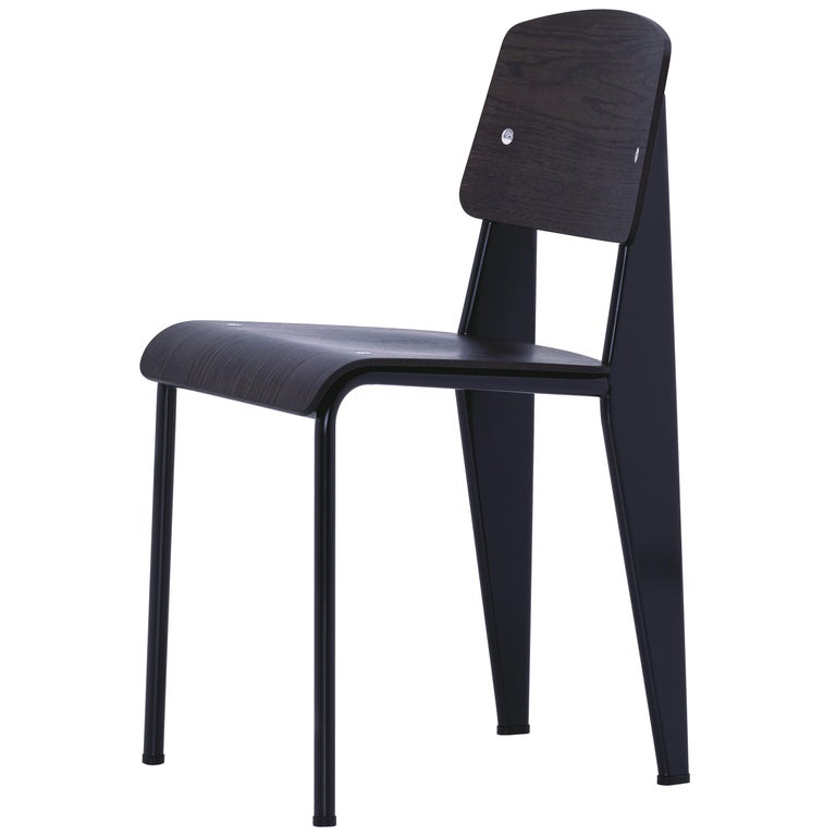 Jean Prouvé Standard Chair in Dark Oak and Black Metal for Vitra For Sale