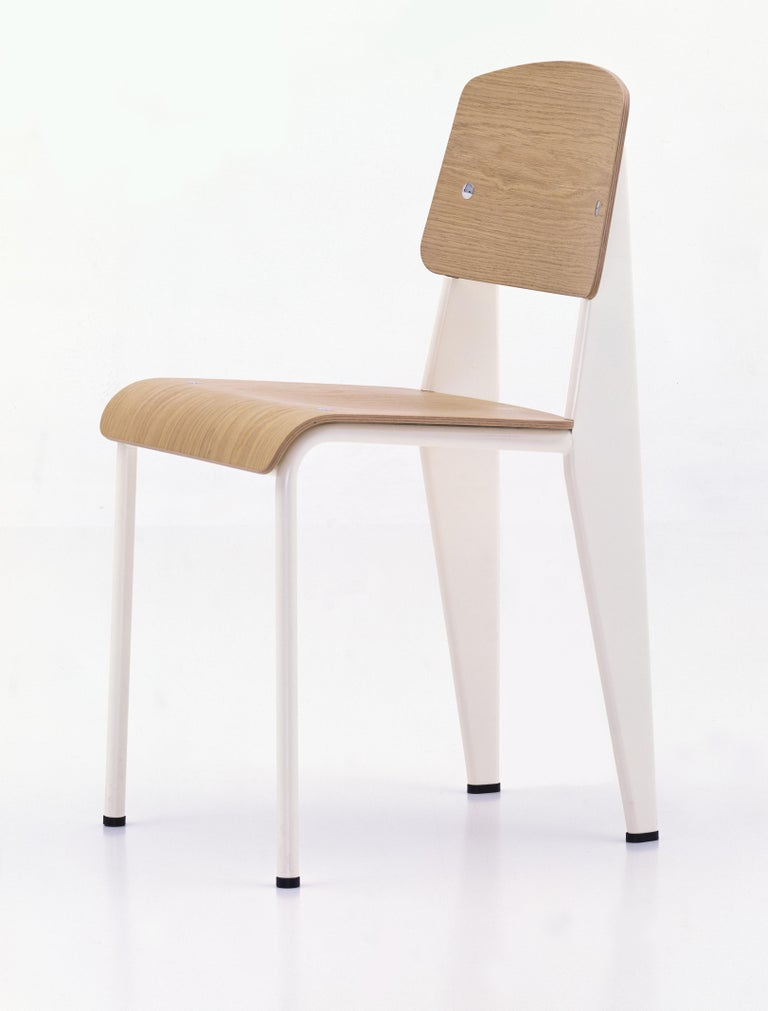 Jean Prouvé Standard Chair in Dark Oak and Ecru White Metal for Vitra For Sale 5