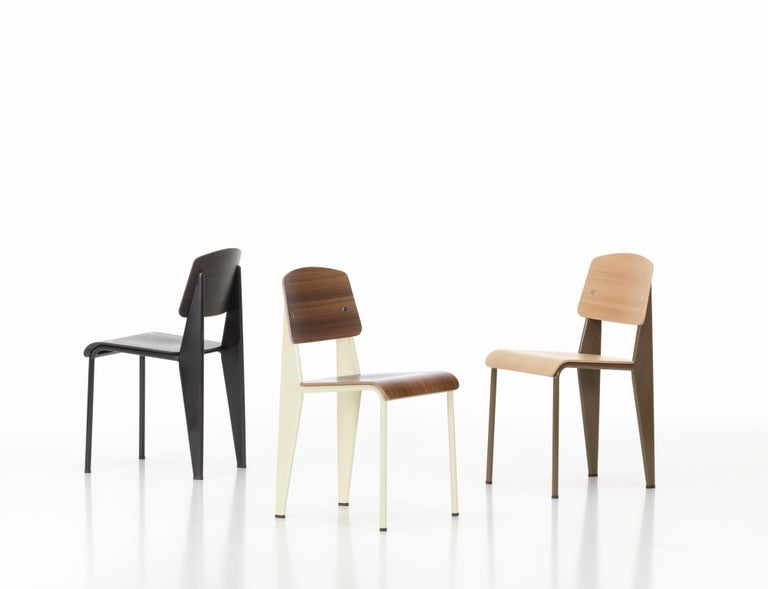 Jean Prouvé Standard Chair in Dark Oak and Ecru White Metal for Vitra For Sale 8