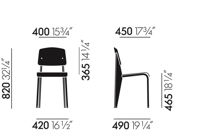 Jean Prouvé Standard Chair in Dark Oak and Ecru White Metal for Vitra For Sale 9