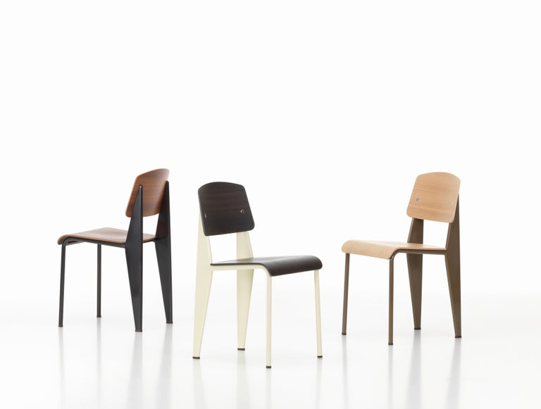 Mid-Century Modern Jean Prouvé Standard Chair in Dark Oak and Ecru White Metal for Vitra For Sale