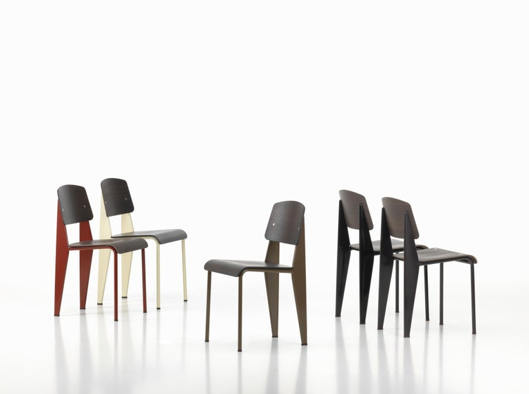 French Jean Prouvé Standard Chair in Dark Oak and Ecru White Metal for Vitra For Sale