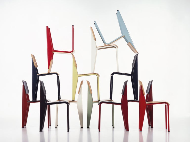 Powder-Coated Jean Prouvé Standard Chair in Dark Oak and Ecru White Metal for Vitra For Sale