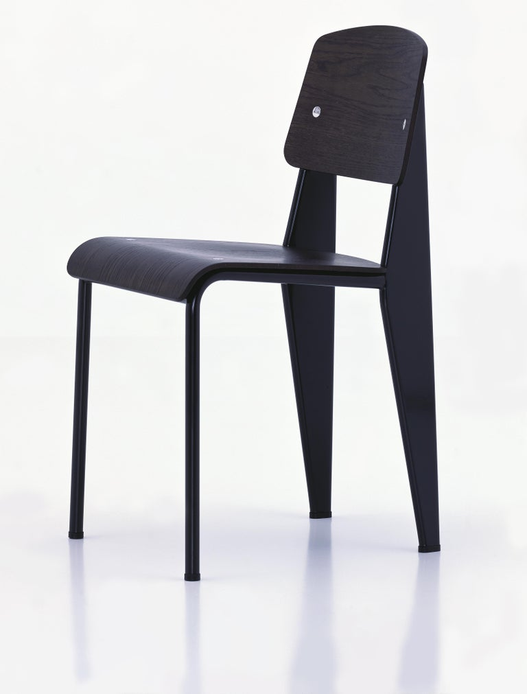 Jean Prouvé Standard Chair in Dark Oak and Ecru White Metal for Vitra In New Condition For Sale In Glendale, CA