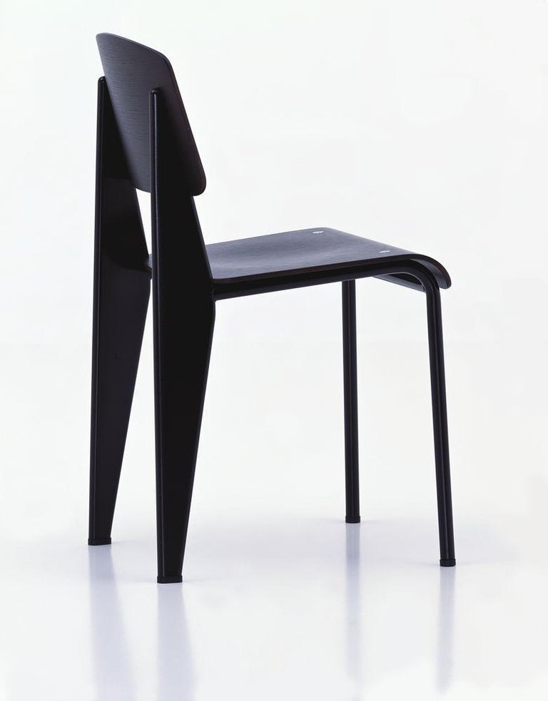 Contemporary Jean Prouvé Standard Chair in Dark Oak and Ecru White Metal for Vitra For Sale