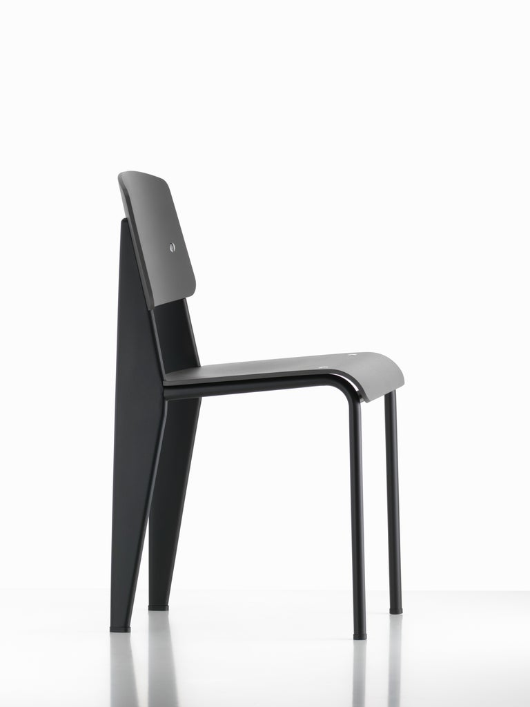 Steel Jean Prouvé Standard Chair in Dark Oak and Ecru White Metal for Vitra For Sale