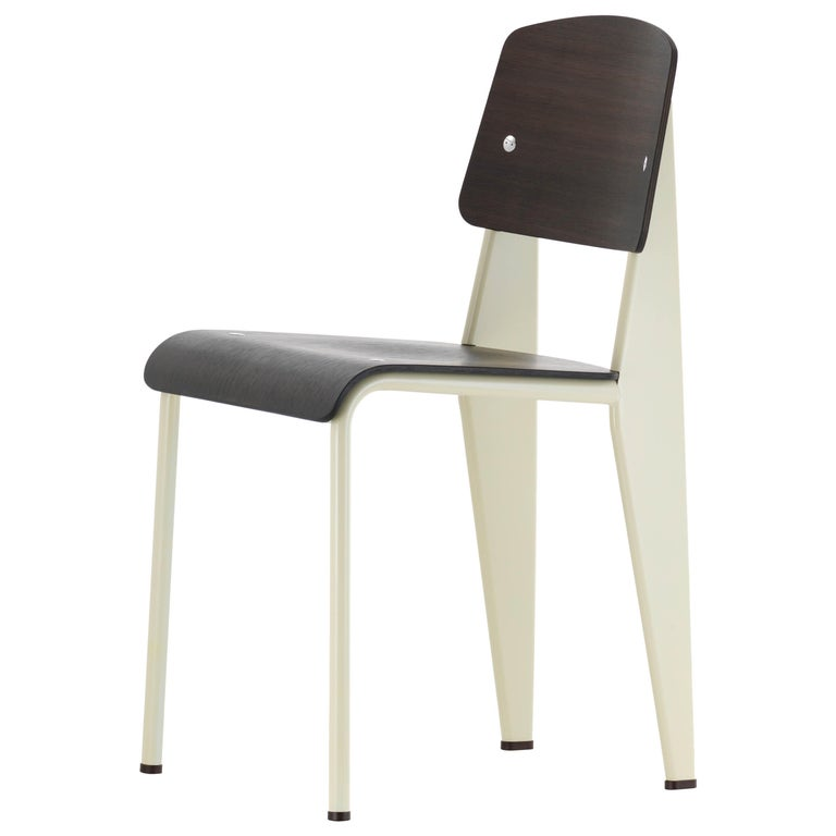Jean Prouvé Standard Chair in Dark Oak and Ecru White Metal for Vitra For Sale