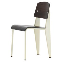 Jean Prouvé Standard Chair in Dark Oak and Ecru White Metal for Vitra