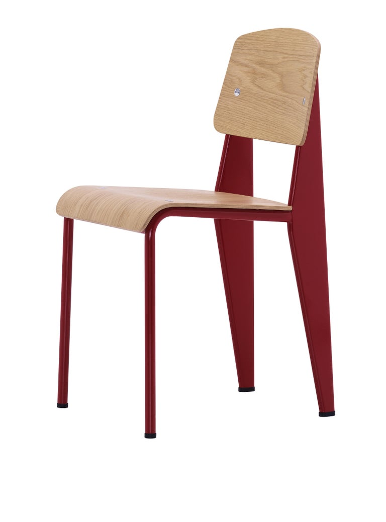Jean Prouvé Standard Chair in Dark Oak and Red Metal for Vitra For Sale 9