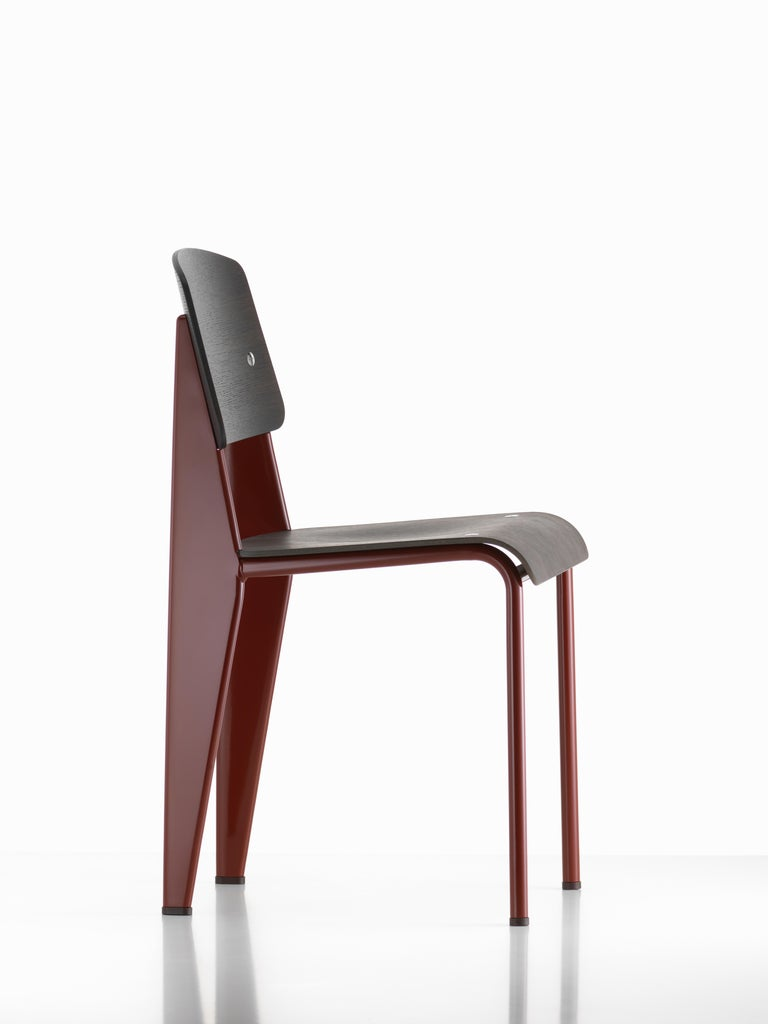 Mid-Century Modern Jean Prouvé Standard Chair in Dark Oak and Red Metal for Vitra For Sale