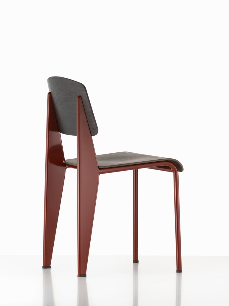 French Jean Prouvé Standard Chair in Dark Oak and Red Metal for Vitra For Sale