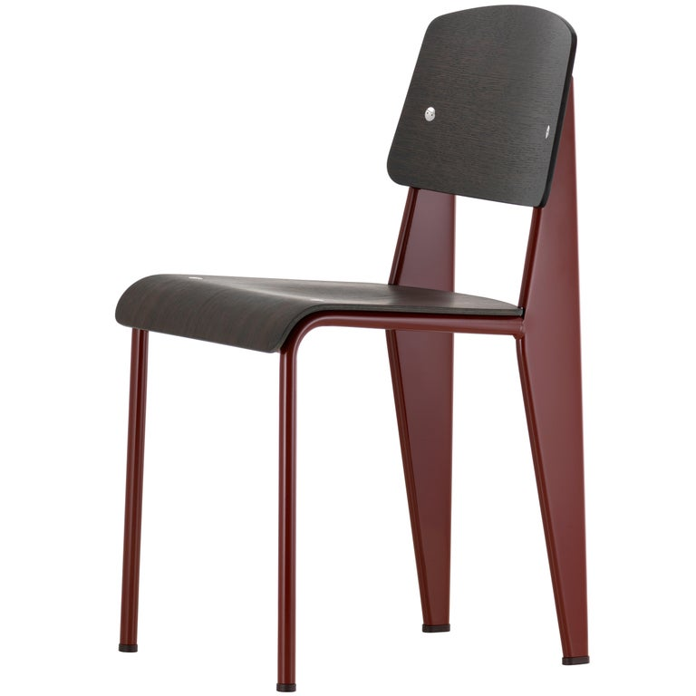Jean Prouvé Standard Chair in Dark Oak and Red Metal for Vitra For Sale