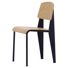 Jean Prouvé Standard Chair in Natural Oak and Black Metal for Vitra