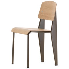 Jean Prouvé Standard Chair in Natural Oak and Brown Metal for Vitra
