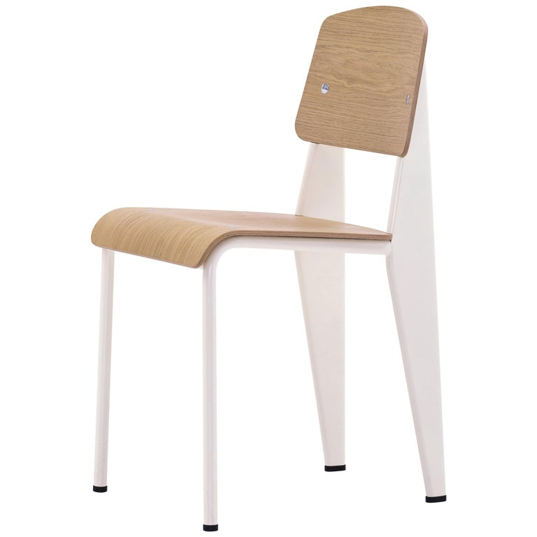 Jean Prouvé Standard Chair in Natural Oak and Ecru White Metal for Vitra For Sale