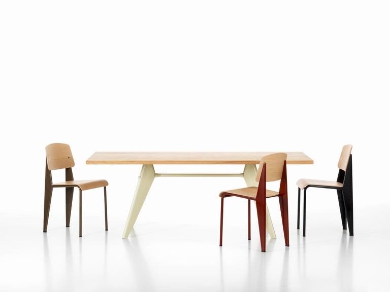 Steel Jean Prouvé Standard Chair in Natural Oak and Red Metal for Vitra For Sale