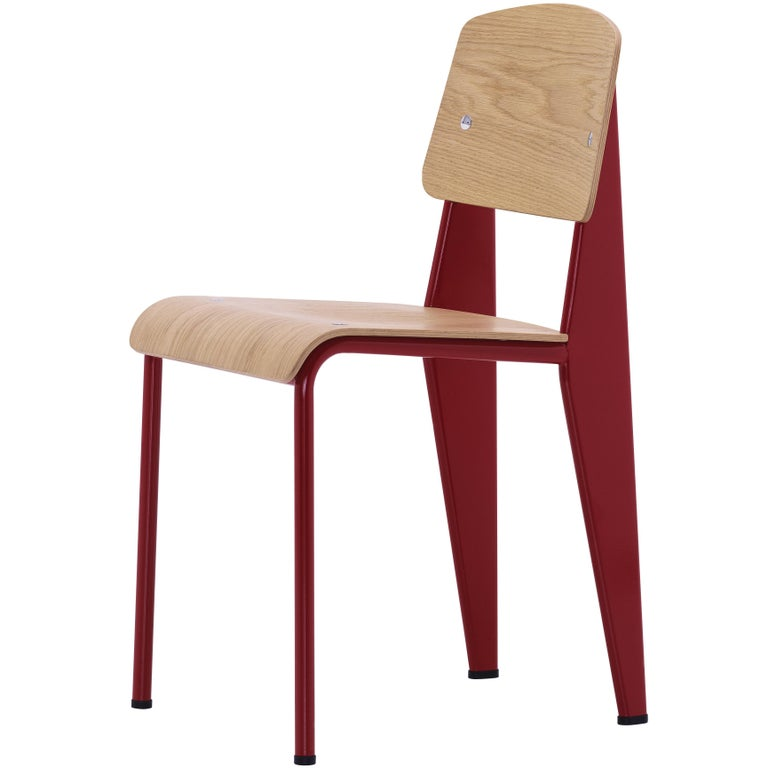Jean Prouvé Standard Chair in Natural Oak and Red Metal for Vitra For Sale