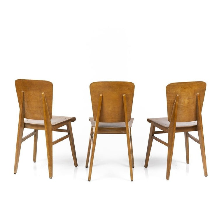 French Jean Prouvé Style Dining Chairs, Set of Six, France, circa 1950s For Sale