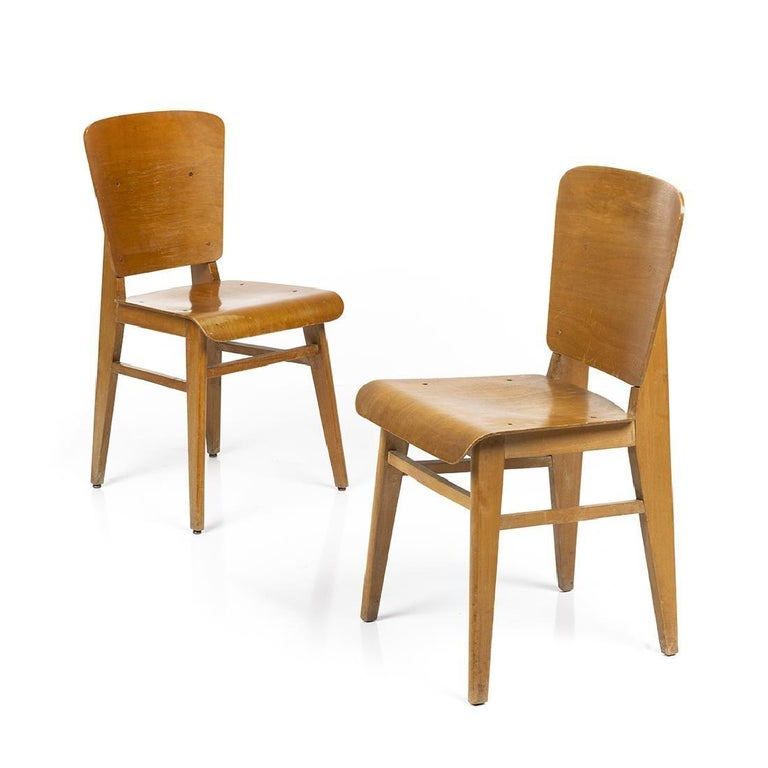 Molded Jean Prouvé Style Dining Chairs, Set of Six, France, circa 1950s For Sale