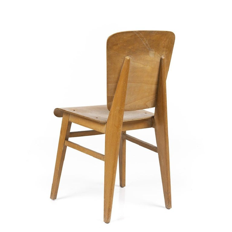 Jean Prouvé Style Dining Chairs, Set of Six, France, circa 1950s In Good Condition For Sale In New York, NY