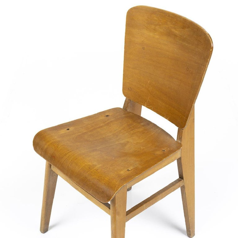 Mid-20th Century Jean Prouvé Style Dining Chairs, Set of Six, France, circa 1950s For Sale