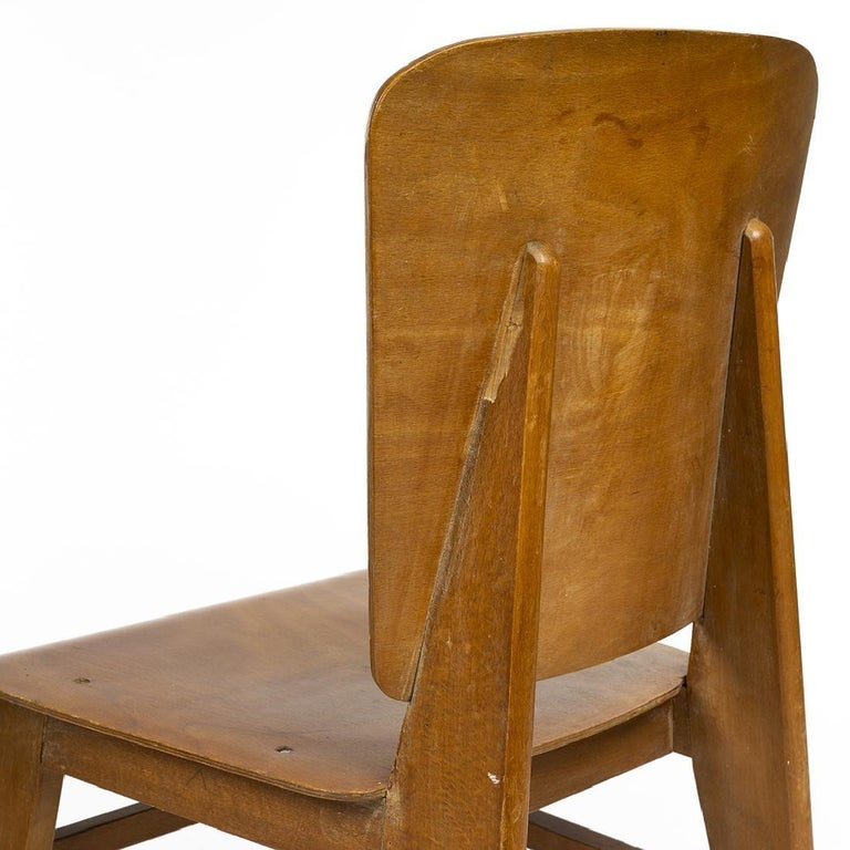 Plywood Jean Prouvé Style Dining Chairs, Set of Six, France, circa 1950s For Sale