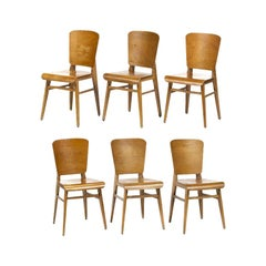 Jean Prouvé Style Dining Chairs, Set of Six, France, circa 1950s