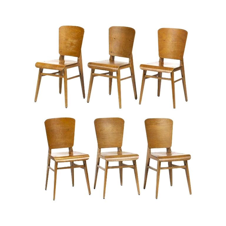 Jean Prouvé Style Dining Chairs, Set of Six, France, circa 1950s For Sale