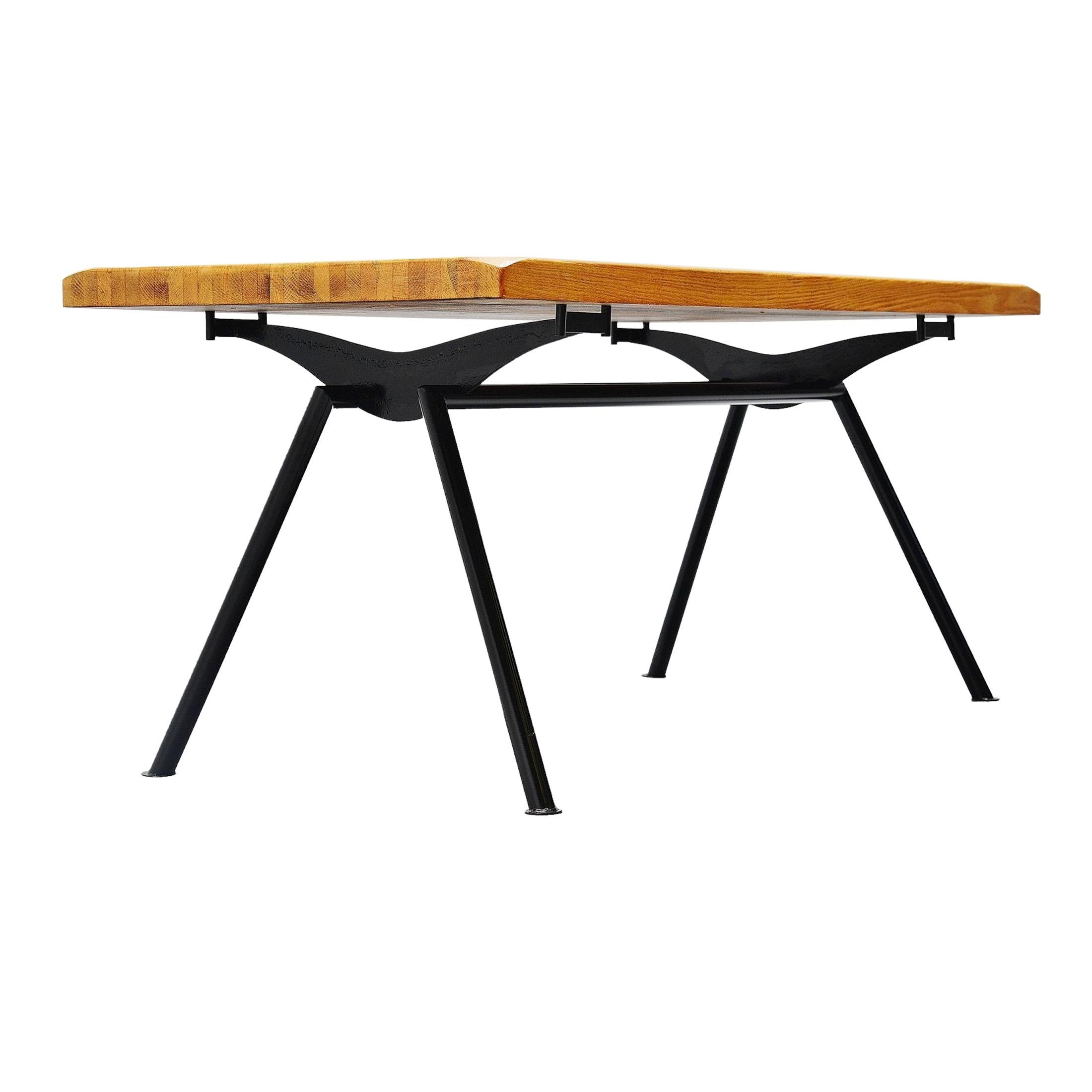 Jean Prouvé Style Quality Industrial Dining Table, France, 1960