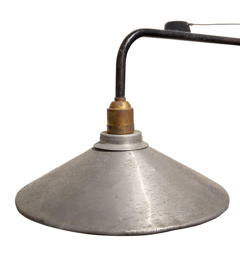 Jean Prouve Swing Arm Wall Light with Period Shade, France, 1950s In Excellent Condition For Sale In New York, NY
