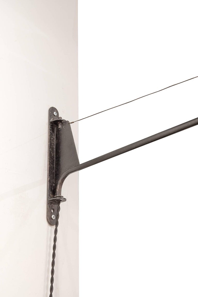 Mid-20th Century Jean Prouve Swing Arm Wall Light with Period Shade, France, 1950s For Sale