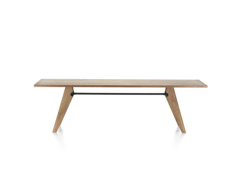 Mid-Century Modern Jean Prouvé Table Solvay in Wood by Vitra For Sale